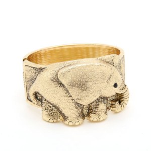 Cute Elephant Gold Cuff Bangle