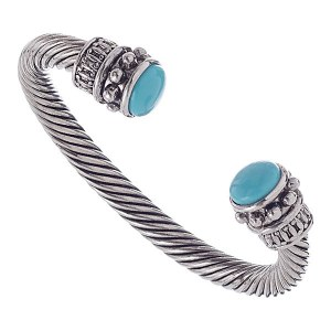Thick Cable Bangle Turquoise