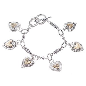 Love Heart Charms Reversible Two Tone Toggle Bracelet