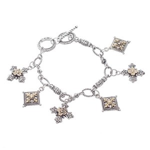 Believe Cross Charms Reversible Two Tone Toggle Bracelet
