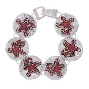 Red Starfish Two-tone Link Bracelet