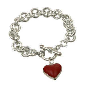 Red Heart Charm Toggle Bracelet