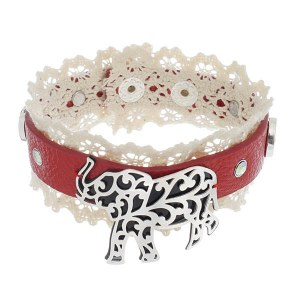 Filigree Elephant Leather & Lace Bracelet Red