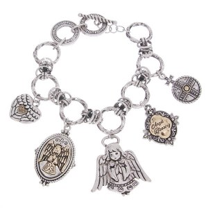Reversible Angel Charms Two Tone Toggle Bracelet