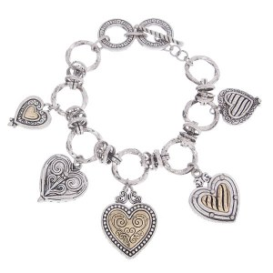 Reversible Heart Charms Two Tone Toggle Bracelet