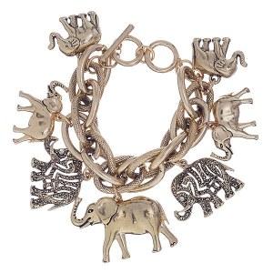 Elephant Charm Bracelet Gold