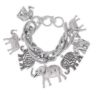 Elephant Charm Bracelet Silver