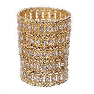 5 Row Wide Stretch Bracelet Gold