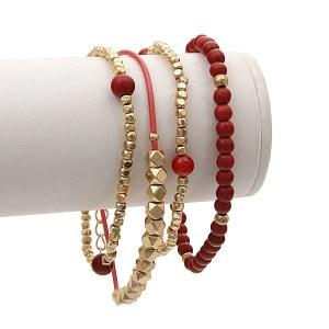 4 Piece Red Bracelet Set