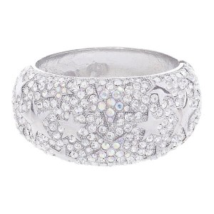 Shining Star Wide Rhinestone Hinged Bangle