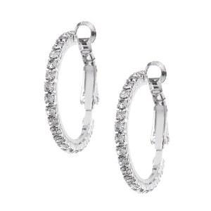 Extra Small Rhinestone Hoop Earrings Silver