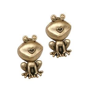 Kissing Frog Gold Post Earrings