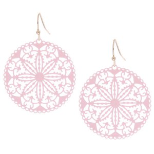 Lightweight Round Cutout Earrings Pink