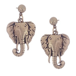Elephant Face Post Earrings Gold