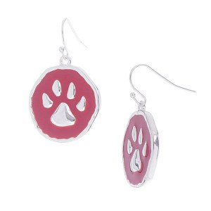 Round Paw Print Earrings Red