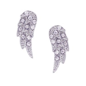 Small Rhinestone Wing Post Earrings