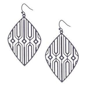 Geo Diamond Laser Cut Earrings Black
