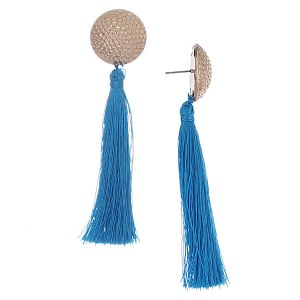 Hammered Gold Stud Earrings with Tassel Blue