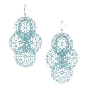 Tiered Floral Medallion Earrings Mint