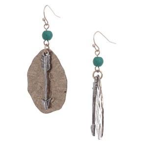 Arrow & Plate Two Tone Earrings