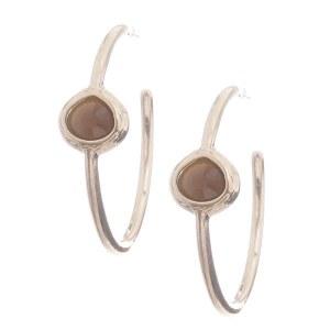 Single Stone Hoop Earrings Hoop Brown