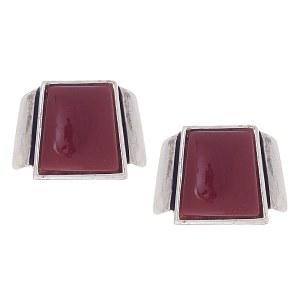 Red Stone Post Earrings