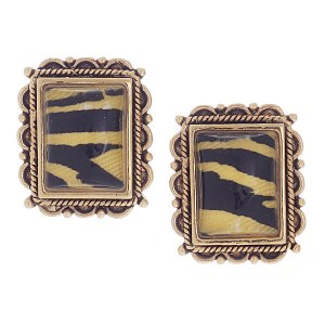 Gold Tiger Post Earrings