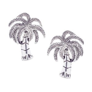 Palm Tree Post Earrings Silver