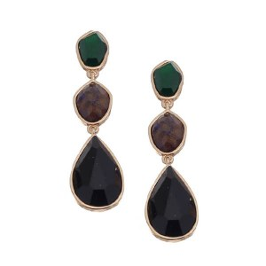 Stacked Stones Post Earrings Black