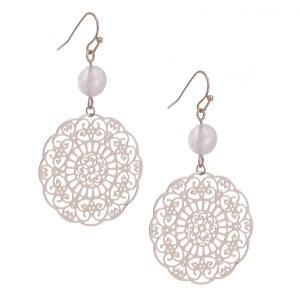 Beaded Floral Medallion Earrings Pink