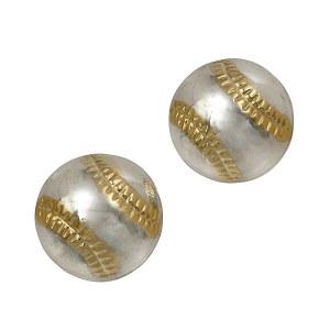 Two Tone Baseball Earrings