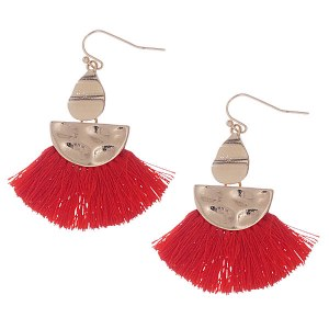 Tassel Dangle Earrings Red