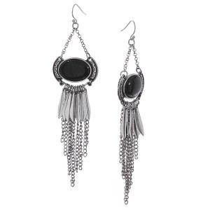 Stone Accent Fringe Chandelier Earrings Black