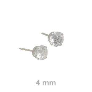 Sterling Silver 4mm CZ Stud Earrings