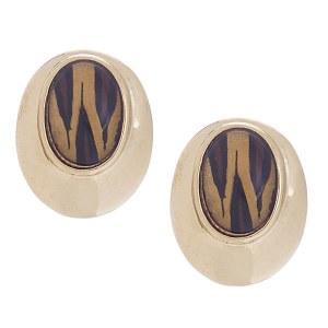 Gold Oval Post Earrings