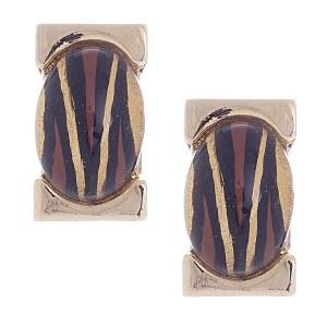 Animal Print Stone Post Earrings
