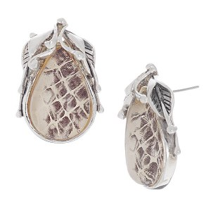 Reptile Print Post Earrings White