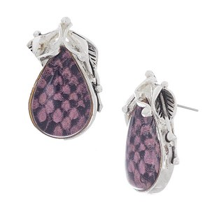 Reptile Print Post Earrings Purple