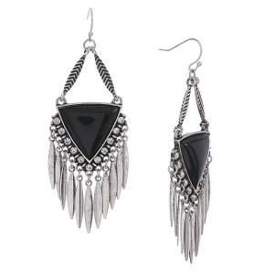 Stone Triangle Metal Fringe Earrings Black/Silver