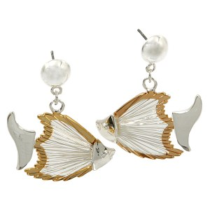 Wire Fish Two Tone Earrings