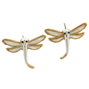Wire Wing Dragonfly Two Tone Earrings