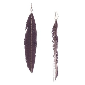 Long Suede Feather Earrings Brown