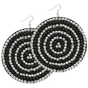 Large Round Felt Earrings Black/ Silver Circles