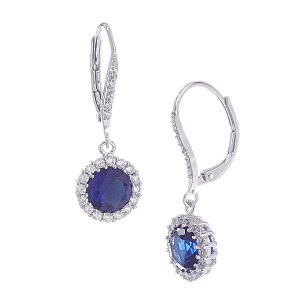 Round CZ Drop Earrings Royal Blue