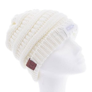 LED Light Cable Knit Beanie Ivory