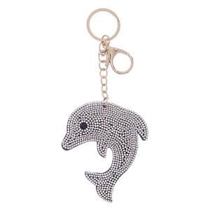 Rhinestone Dolphin Keychain