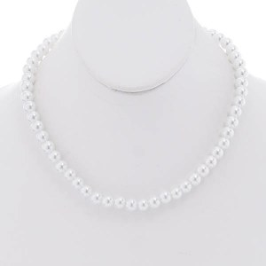 """16"""" 8mm White Pearl Necklace Set"""