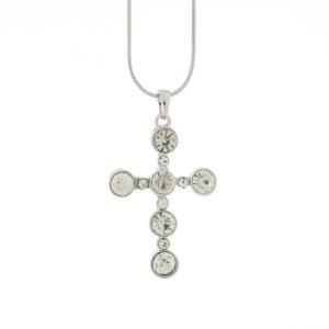 Rhinestone Silver Cross Pendant