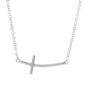 Curved Sideways Cross Pendant Necklace
