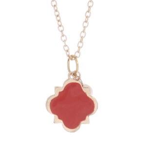 Clover Pendant Necklace Set Coral